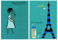 Shinzi Katoh Japan Kawaii Zakka Postcard Set: Blue Paris