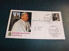 a FDC Ersttagsbrief Original Autogramm Papst Johannes Paul II. und Helmut Kohl