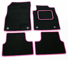 Perfect Fit Black Sapp Carpet Car Mats for Fiat 500 2013+ Pink Leather Trim