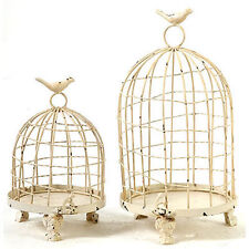 "Decorative Metal Bird Cage Cream 13""/9"" Set Of 2 - 33301CREA"