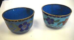 Antique  Enamel  Small 2 Bowls FLORAL DESIGNED