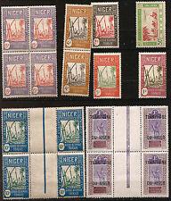 NIGER 3 blocs neufs de 4 timbres et 6 timbres neufs de 1921 à 1938  Ref 42T1