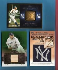BABE RUTH GAME USED BAT + TOPPS RETRIED RINGS CARD + YANKEES MANUFACTURED PATCH