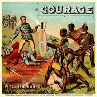 VINTAGE COURAGE TOBACCO LABEL W.M Cameron & Bro Virginia BAR ART MAN CAVE POSTER