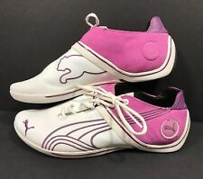 Puma Drift Cat Shoes Womens 8.5 White Leather Purple Pink Suede