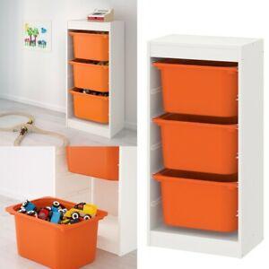 Ikea TROFAST Storage Combination With Children Play Plastic Boxes Orange