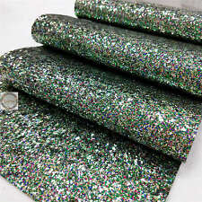 Multi-Color Twinkling Chunky Glitter Sparkle Fabric Leather Craft Vinyl Material