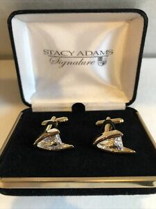 Stacy Adams Crystal Cufflinks Sets Gold Setting Fashionable New In Gift Box.