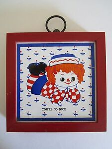 VTG Raggedy Andy Ceramic Tile Bank Wall Plaque Red Head Retro Mid-Century Doll