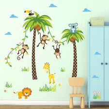 Animals Coconut Tree Wall Sticker Lion Giraffe Monkey Kid Bedroom Decor Decal