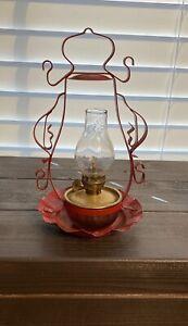 "Vintage Brass Lantern Shaped Lamp/Oil Lantern, 8"" Tall w/ Glass Chimney"