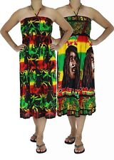 Ladies Summer Rasta Bob Marley Weed Reggae Printed Maxi Dress Style Hip Hop