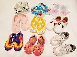 Lot GIRLS SHOES NIKE Jelly Clogs SNEAKERS SLIPPERS SANDAL Flowers WATER SHOE 5-6