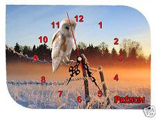 horloge pendule murale REF F20 CHOUETTE à personnaliser PRENOM  AU CHOIX