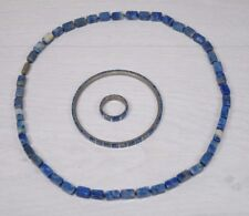 Vintage Genuine Blue Gemstones Lapis Lazuli Natural Women's Bracelet & Ring