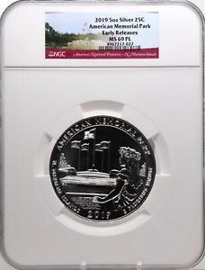 2019 5oz SILVER 25C American Memorial Park NGC MS 69PL Early Releases must see!