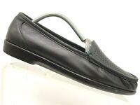 SAS Black Leather Moc Toe Slip On Comfort Flats Shoes Women's 10.5 M