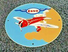 VINTAGE ESSO GASOLINE PORCELAIN GAS AIRPLANE SERVICE STATION PUMP PLATE SIGN