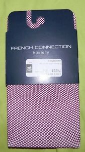 New Women French Connection Fishnet Hosiery Purple Size M/L Italy