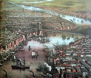 NEW YORK SHIPS & BOATS BROOKYN BRIDGE 1873 MAGNIFICENT OVERSIZE HARDBACK MAP