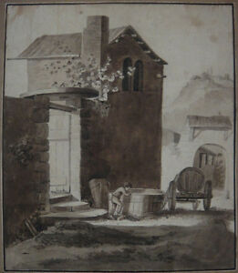 Antique ink drawing, French school. Little boy in a village. Early 1800s