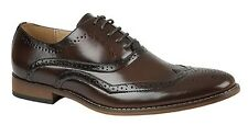 MENS SIZE 6 7 8 9 10 11 12 DARK BROWN FAUX LEATHER POINTED BROGUE LACE UP SHOES