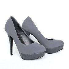 Plateau High Heels Pumps 38 Grau Damen Schuhe Riemchen Sandaletten Shoes 526-09