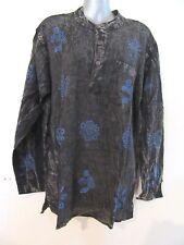 YAK & YETI Nepal Brown Blue Handblock Print Mens Unisex Long Sleeved Top Shirt M