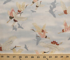 Cranes Japanese Red-Crowned Crane Dawn Cotton Fabric Print D505.16