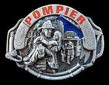 French Pompier Fireman Firemen Truck Pewter Belt Buckle Boucle de Ceintures