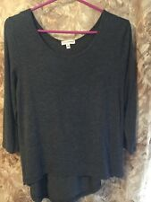 Zenana Outfitters Charcoal Grey Hi Lo Light Weight Sweater Size L