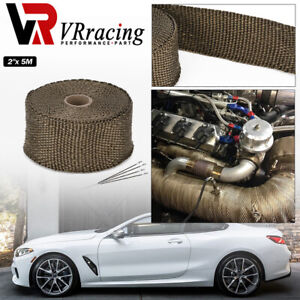 "2""x 16' Premium Exhaust Heat Wrap Manifold Wrap Titanium Lava Fiber + 4 pcs Ties"
