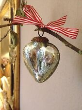 Silver Crackle Mercury Glass Heart Christmas Decoration Heavy Kugel Style Bauble
