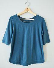 Neuf White Stuff 8 - 12 Coton Bleu 3/4 Manches Décontracté Haut Chemisier