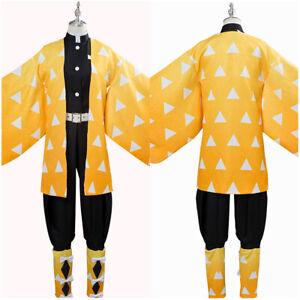 Demon Slayer: Kimetsu no Yaiba Agatsuma Zenitsu Cosplay Costume Kimono Dress