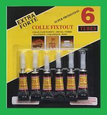 Lot 6 Colle Liquide Glue Extra-Forte Caoutchouc Cuir Métal Verre Plastique 3g