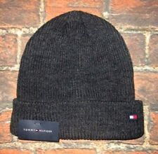 MENS TOMMY HILFIGER GRAY CHARCOAL BEANIE HAT ONE SIZE