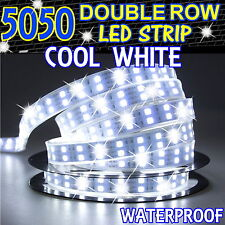 Cool White 5M 16.4ft 600Leds 5050 SMD LED Strip Light Double Row Waterproof IP67