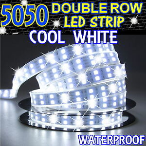 Cool White 5M 16.4ft 600Leds 5050 SMD LED Strip Light Double Row Waterproof NEW