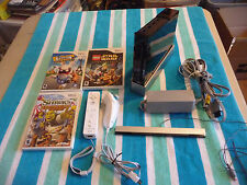 NINTENDO WII BLACK CONSOLE Missing Port Lid TESTED/WORKS w/ 3 Games