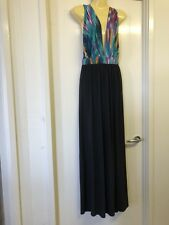 BooHoo Size 12 Black / Colorful Low Plunge V Neck Full Length Maxi Dress  # 898