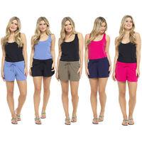 Ladies Summer Shorts Womens Hot Pants Lounge Beach Shorts Cool Cotton Sizes 8-22