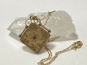 Antique Victorian Gold Filled Square Locket Pendant Ruby Stone Old Edwardian