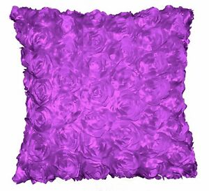 Sa208a Light Purple 3D Flower Taffeta Satin Cushion Cover/Pillow Case*Custom