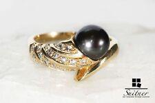 Perlen Ring mit schwarzer Zuchtperle und Diamanten aus 585 Gold