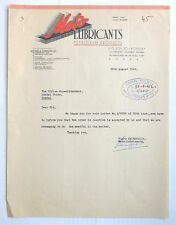 India 1942 Metro Lubricants Petroleum Products Letterhead