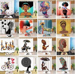 "Pop Art African Woman Black Girl Bathroom Fabric Shower Curtain & 12 Hooks 71"""