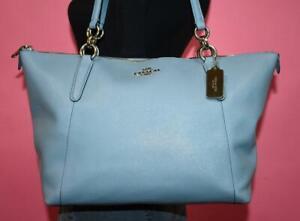 "COACH POWDER BLUE Crossgrain Leather ""AVA"" Shoulder Tote Purse Bag F57526"