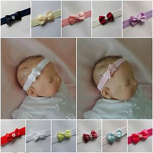 Baby Headbands Hairband Soft Elastic  Small and  Dainty Satin Bow