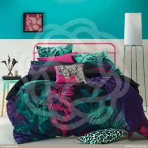 Lorraine Lea Black Jewel Amazon Jungle Tropical Queen Doona Quilt Cover RRP$169
